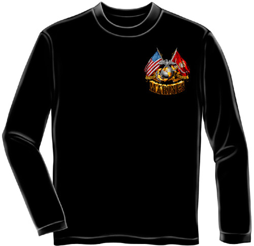 **(NEW-OFFICIALLY-LICENSED-U.S. MARINES-VETERAN/OFFICIAL-MARINE-GOLDEN-GLOBE,DOUBLE-FLYING-FLAGS & MARINES-SEMPER-FIDELIS,NICE-DETAILED-CUSTOM-GRAPHIC-PRINTED/PREMIUM-DOUBLE-SIDED-LONG-SLEEVE-TEES:)**