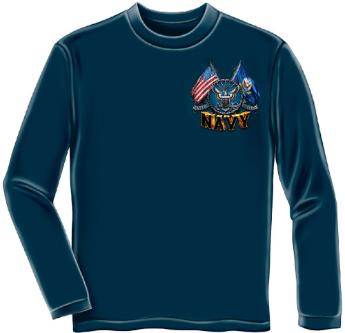 **(NEW-OFFICIALLY-LICENSED-U.S. NAVY-VETERAN/OFFICIAL-NAVY-SYMBOL & DOUBLE-ANCHORS,DOUBLE-FLYING-FLAGS & THE-SEA-IS-OURS,NICE-DETAILED-CUSTOM-GRAPHIC-PRINTED/PREMIUM-DOUBLE-SIDED-LONG-SLEEVE-TEES:)**
