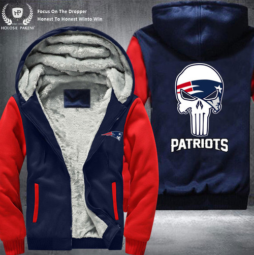 **(OFFICIAL-N.F.L.NEW-ENGLAND-PATRIOTS-FLEECE-LINNED-ZIPPERED-HOODIES/NICE-CUSTOM-GRAPHIC-DOUBLE-SIDED-PRINTING/WITH-OFFICIAL-PATRIOTS-PUNISHER-SKULL-LOGO & OFFICIAL-N.F.L.PATRIOTS-TEAM-COLORS,PREMIUM-WARM-SHERPA-FLEECE-HOODIES)**