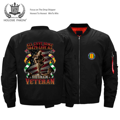 **(OFFICIALLY-LICENSED-U.S.MILITARY-VIETNAM-VETERANS-PREMIUM-THICK-FLIGHT-BOMBER-JACKETS/ALL-GAVE-SOME & 58479-FALLEN-GAVE-ALL/VIETNAM-VETERANS-NICE-CUSTOM-3D-GRAPHIC-PRINTED-DOUBLE-SIDED-BOMBER/MA-1 FLIGHT-JACKETS,COMES-IN-CLASSIC-MIDNIGHT-BLACK)**