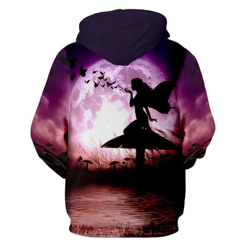 **(NEW-MENS & WOMENS/3-D>CUSTOM-DETAILED-GRAPHIC-PRINTED/BEAUTIFUL-BUTTER-FLY-FAIRY-ON-A-MUSHROOM & BUTTERFLIES-ACROSS-FULL-MOON-HOODIE/NICE-GRAPHIC-CUSTOM-3D-PRINTED-ALL-OVER/PREMIUM-DOUBLE-SIDED,PULLOVER-POCKETED-3D-HOODIES)**