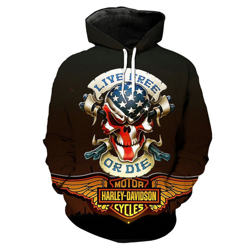 **(MENS & WOMENS-OFFICIAL-3-D-GRAPHIC-PRINTED-HARLEY-PULLOVER-HOODIES/HARLEY-DAVIDSON-PATRIOTIC-SKULL & LIVE-FREE-OR-DIE & 3D-HARLEY-EMBLEM/NICE-DETAILED-CUSTOM-GRAPHIC-PRINTED,DOUBLE-SIDED-DESIGN/PREMIUM-POCKET-PULLOVER-HOODIES)**
