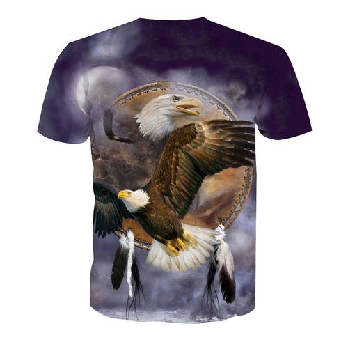 **(NEW-MENS-OFFICIAL-3-D-ALL-OVER-GRAPHIC-PRINTED-PATRIOTIC-TEES/BIG-BEAUTIFUL-BALD-EAGLE-IN-FLIGHT & INDIAN-DREAM-CATCHER/EAGLES-FEATHERS,NICE-DETAILED-CUSTOM-GRAPHIC-PRINTED/PREMIUM-FULL-3D-EFFECT-DOUBLE-SIDED-TEES)**
