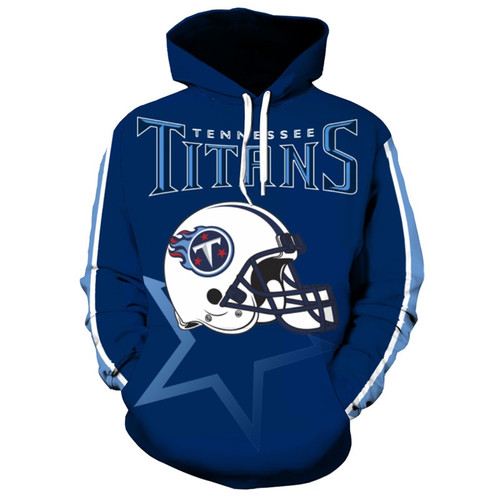 Officially Licensed N F L Tennessee Titans Trendy Pullover Team Hoodies Nice Custom 3d Effect Graphic Printed Double Sided All Over Official Titans Logos In Official Titans Team Colors Warm Premium Official Team Pullover Pocket Hoodies