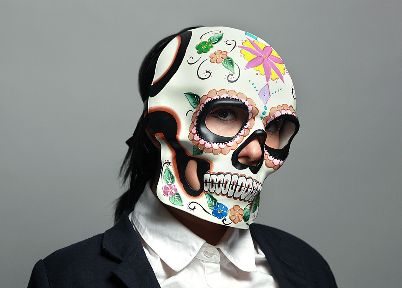 6c063eb5 Colorful Floral Design Day of the Dead Sugar Skull Mask / Wall Hanging Main  image