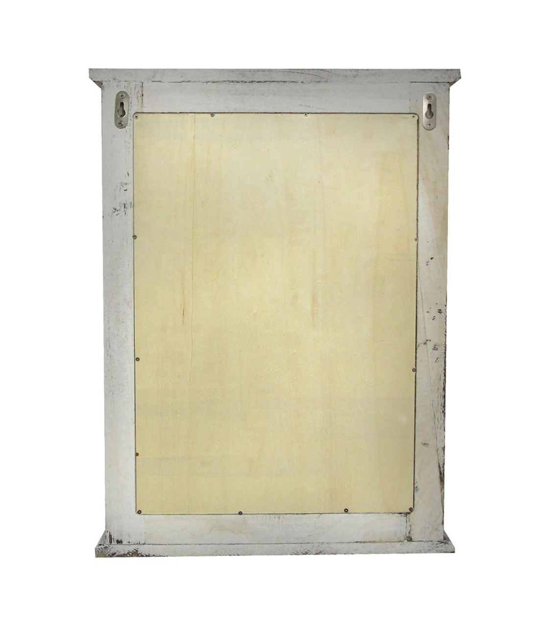 Distressed Finish White Wooden Shutter Wall Mirror