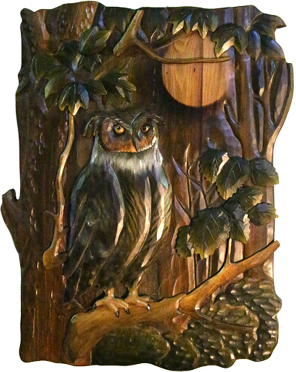 Owl Hand Crafted Intarsia Wood Art Wall Hanging 18 X 26 X 2 5 Inches