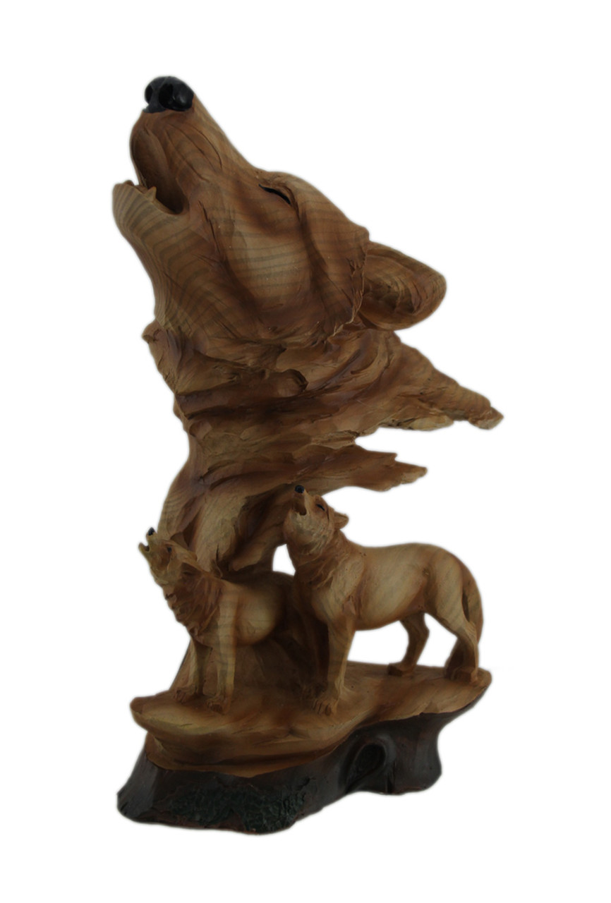 Zeckos Faux Carved Wood Look Howling Wolf Head and Pup Statue