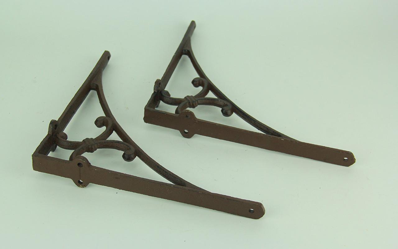 Antique Brown Cast Iron Scroll Decorative Shelf Bracket Set Of 2