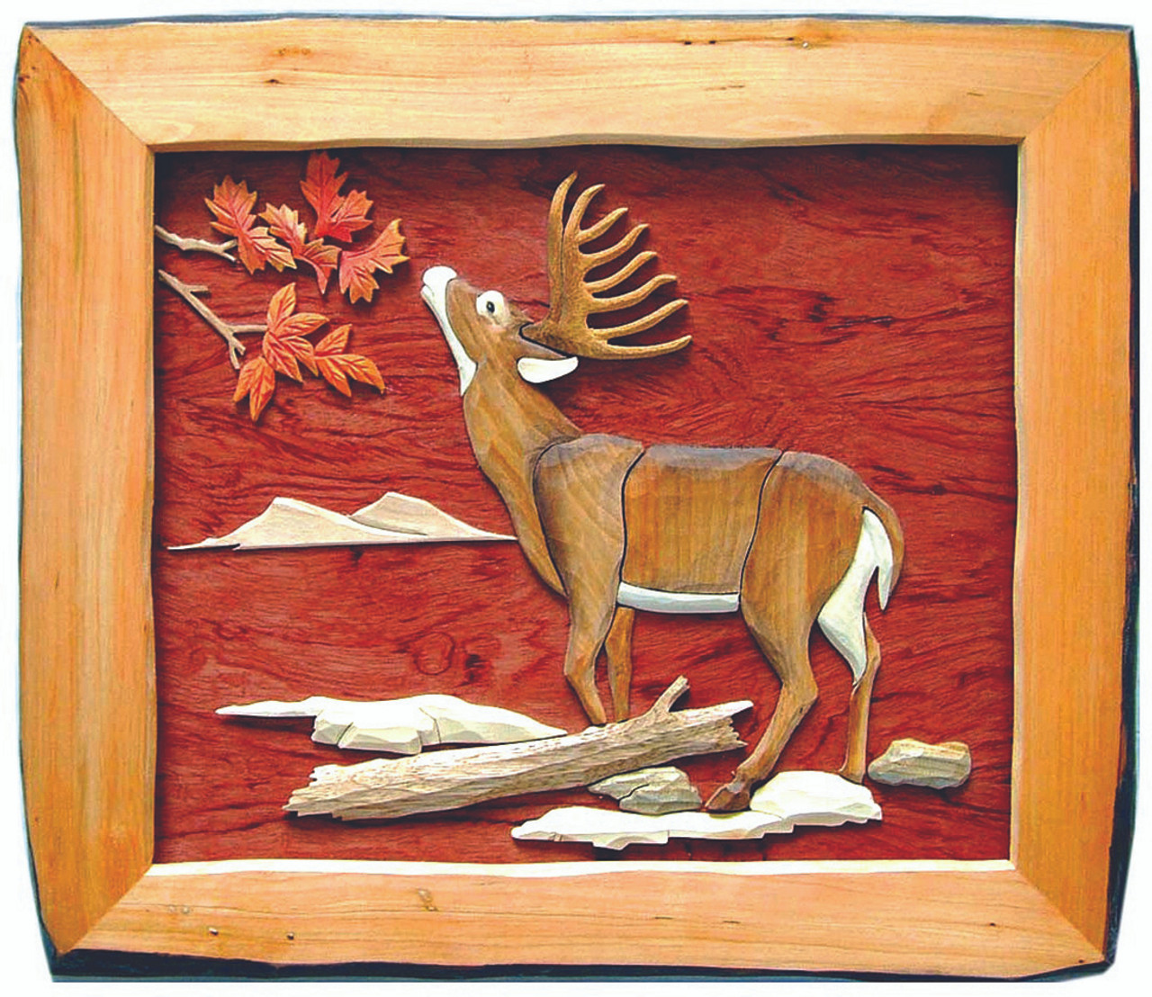 Buck Eating Hand Crafted Intarsia Wood Art Wall Hanging 20 X 18 X 2 Inches