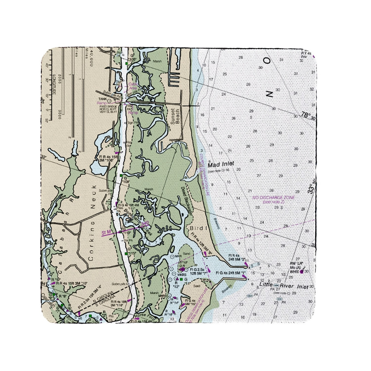 Betsy Drake Sunset Beach, NC Nautical Map Coaster Set of 4 on map of cherry grove sc, island sunset beach nc, map of north carolina coast, map of atlantic beach sc, map of surfside beach sc, map of north myrtle beach sc, map of garden city sc, map of sunset beach ca, aerial view of sunset beach nc,