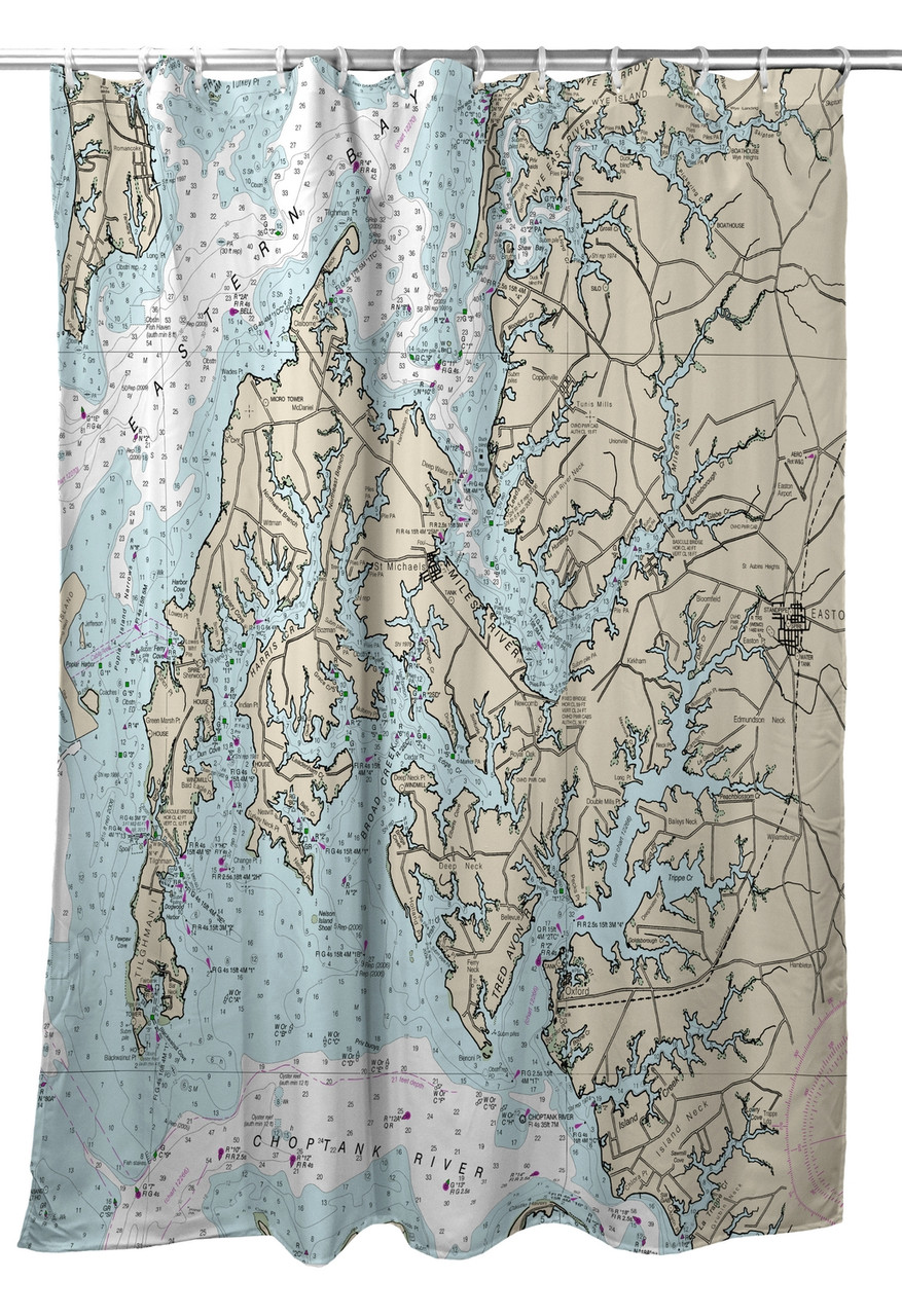 Betsy Drake Easton MD Nautical Map Shower Curtain Main Image