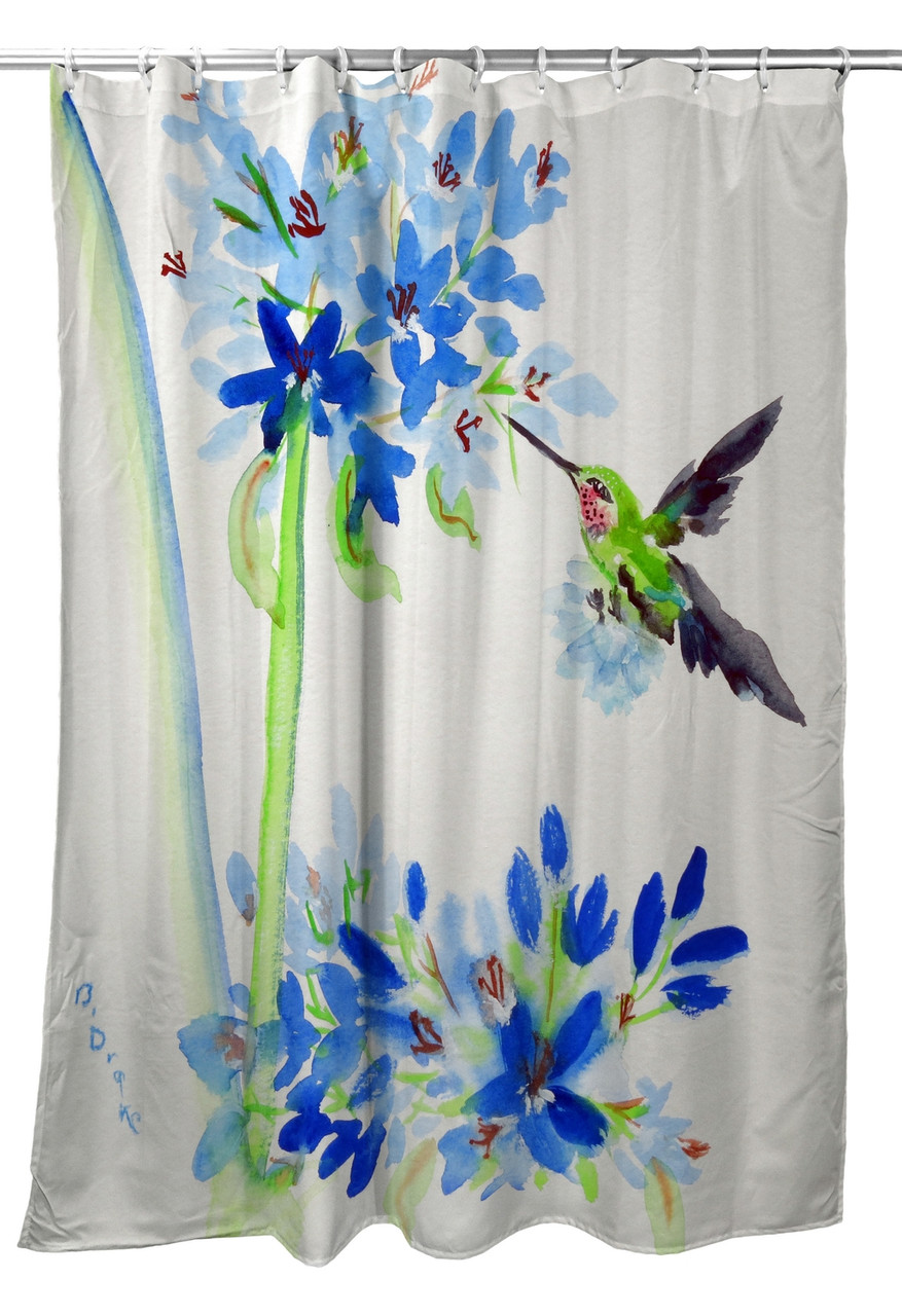 Betsy Drake Hummingbird Blue Flowers Shower Curtain Main Image