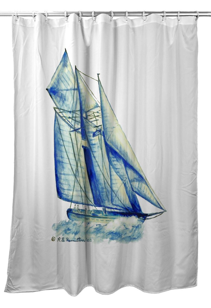 Betsy Drake Blue Sailboat Shower Curtain Main Image