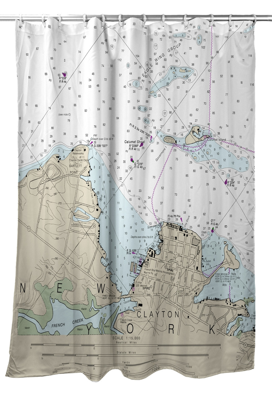 Betsy Drake Clayton NY Nautical Map Shower Curtain Main Image
