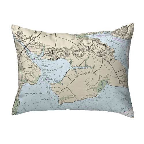 Betsy Drake Marblehead Ma Nautical Map Noncorded Indoor Outdoor Pillow 18x18 Zeckos