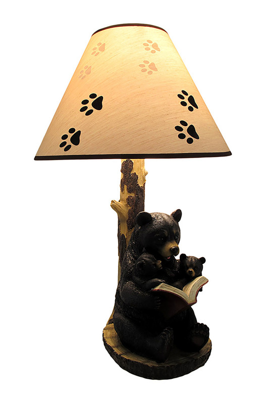 Black Bear Reading To Curious Cubs Table Lamp W Paw Print Shade