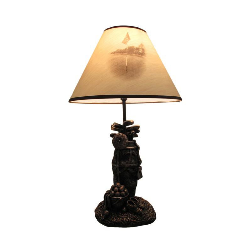 Golf Lovers Tee Light Golf Bag Table Lamp W Decorative Shade