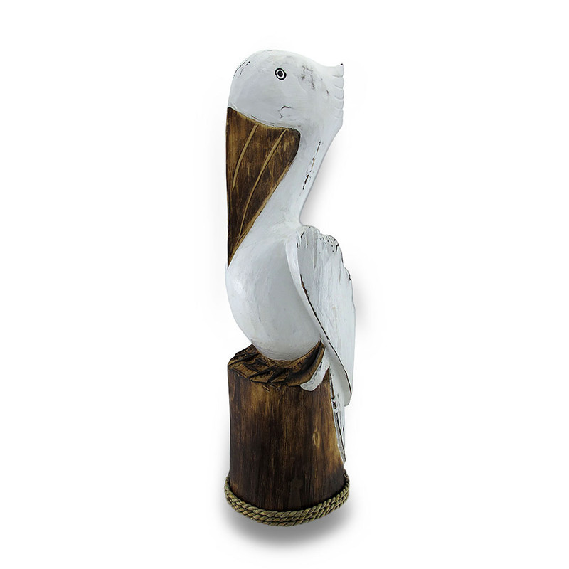 Hand Carved Painted Wooden Pelican On Piling Statue Coastal