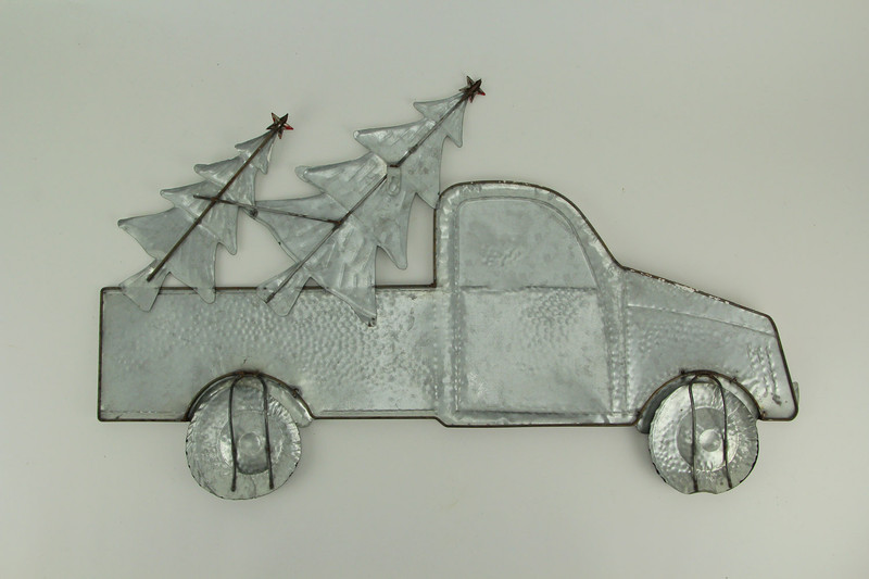 Red Christmas Truck.Red Metal Christmas Truck Hauler Holiday Wall Hanging Trees