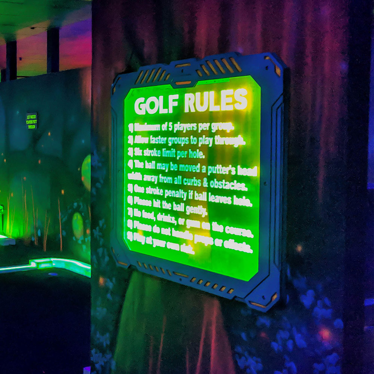 Mini Golf Rules Sign - LED