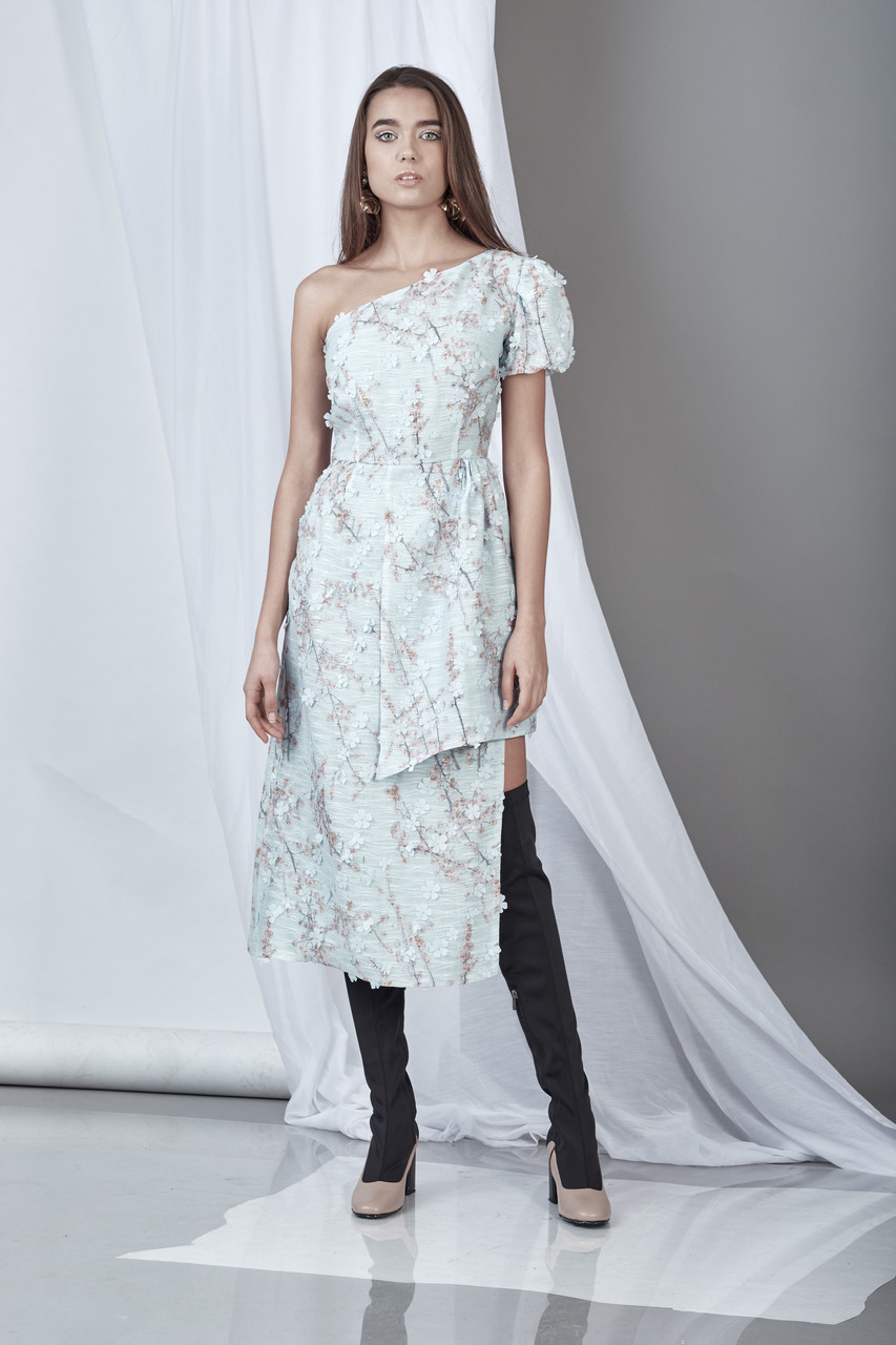 Sgnificance Dress (Light Blue 3-D Lace Midi Dress)