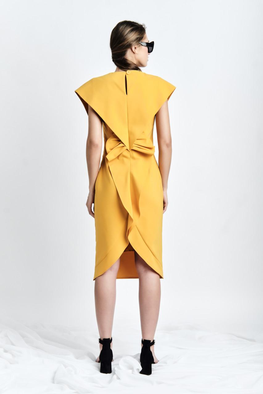 SUSUR Dress (Mustard Cotton-blend Midi Dress with Structural Back)