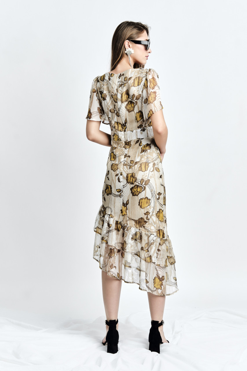 Hora Dress (Flower-print Silk Asymmetric Midi Dress)