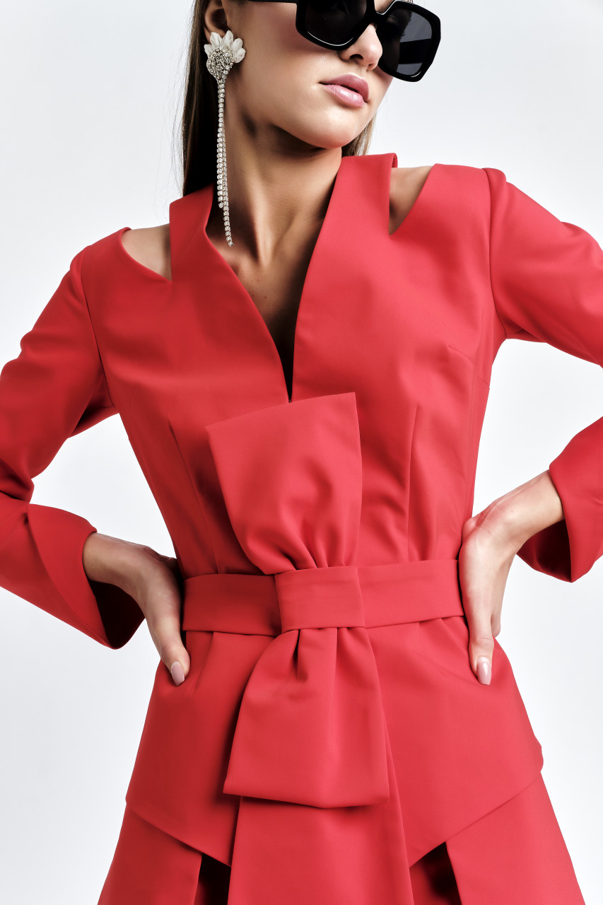 ZORI Blazer (Belted Coral Blazer with Shoulder Coutouts)