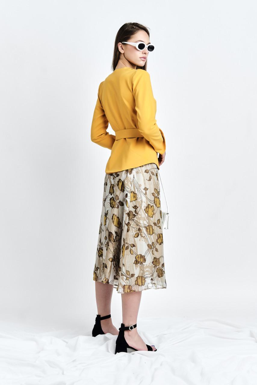 ZORI Blazer (Belted Mustard Blazer with Shoulder Coutouts)