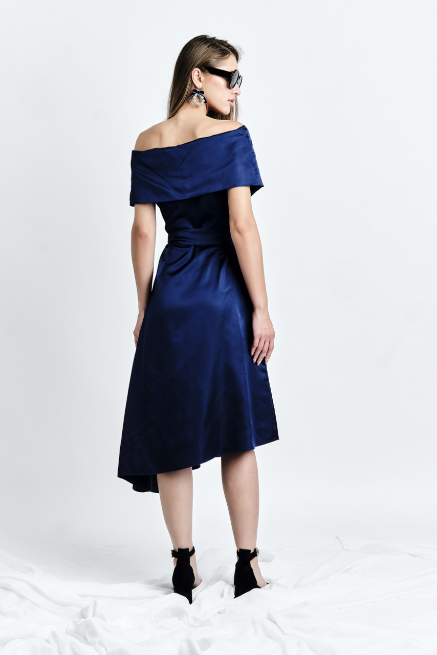 DALBA Dress (Blue Cape-effect Silk-blend Midi Dress with Asymmetric Hem)