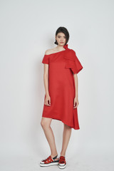 Tiger Lily Dress (One-Shoulder A-cut Red Linen Bow Dress)