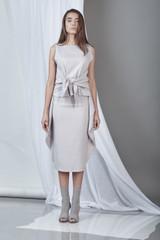 Soft-Spirit Skirt (Light Grey Ruffled Midi Skirt)