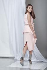 Soft Spirit Skirt (Powder Pink Ruffled Midi Skirt)