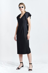 SUSUR Dress (Dark-blue Wool Midi Dress with Structural Back)