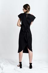 SUSUR Dress (Dark-blue Wool Midi Dress with Structural Back)