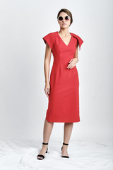 SUSUR Dress (Coral Cotton-blend Midi Dress with Structural Back)