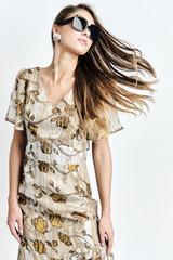 Hora Dress (Flower-print Silk Asymmetric Midi Dress)