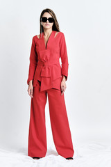 ZORI Pants (Coral Wide-Leg Pants with Side Panels)