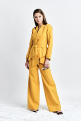 ZORI Pants  (Mustard Wide-Leg Pants with Side Panels)