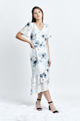 HORA dress (Flower-print Silk-blend Asymmetric Midi Dress)