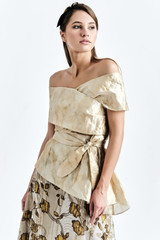 DALB top (Silk Cape-effect Top with Asymmetric Peplum)