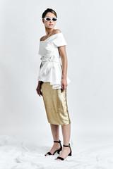 DALB Top (White Cotton-blend Top with Asymmetric Peplum)