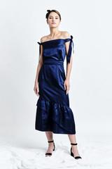 SANZIENE Dress (Blue Silk-blend Midi Dress with Asymmetric Ruffled Hem)