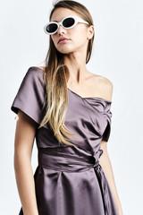 DALBA Dress (Plum Cape-effect Silk-blend Midi Dress with Asymmetric Hem)