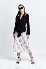 HORA Skirt (Asymmetric A-line Silk-blend Midi Skirt)