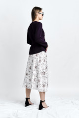 HORA Skirt (Asymmetric A-line Silk-blend Midi Skirt)