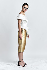 DARING Skirt (Sequinned Pencil Skirt with Side Panels)