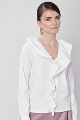 ROUND Shirt (White Poplin Shirt with Ruffles)