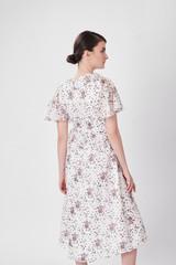 Round Multicolored Dress (Short Sleeved Silk-blend Dress)